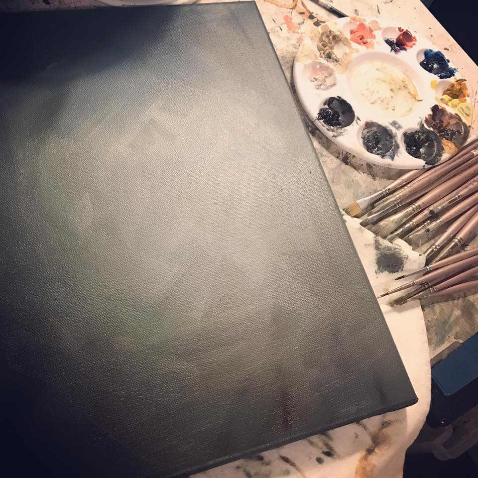 Craft Tables - Drafting table with oil paint